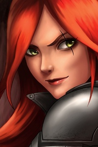 Katarina League Of Legends Red Hair Warrior Girl