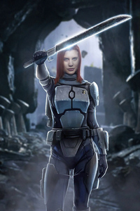 240x320 Katee Sackhoff As Bo Katan Kryze The Mandalorian