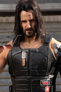 1080x2280 Keanu Reeves Cyberpunk 2077 Cosplay