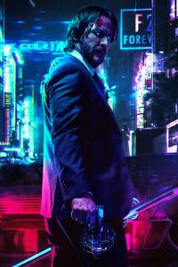 1125x2436 Keanu Reeves Cyberpunk 2077 FanArt