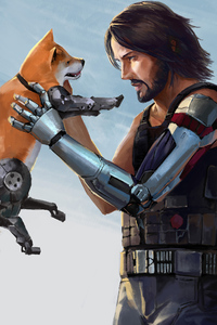 320x480 Keanu Reeves Dog In Cyberpunk 2077