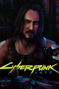 1440x2560 Keanu Reeves In Cyberpunk 2077 Art