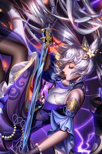 1242x2688 Keqing Warrior Girl 4k