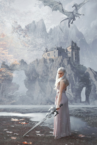 480x854 Khalessi With Sword Fantasy 5k