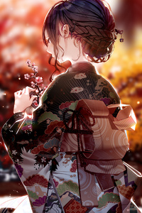 800x1280 Kimono Dress Anime Girl 4k