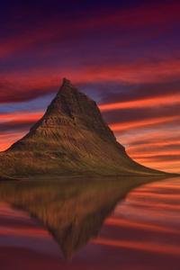 Kirkjufell Mountain Abenrot Sunset Dusk