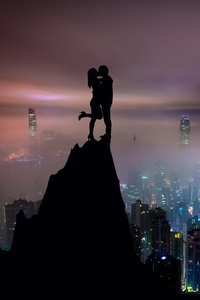 1080x2280 Kiss On Mountain Top Skycrappers Buildings Illustration