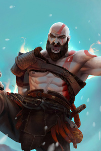 640x960 Kratos 4k Artwork New
