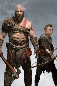 1125x2436 Kratos And Atreus 4k