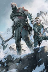 480x800 Kratos And Atreus Dad Of Boy 4k