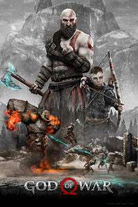 1080x2160 Kratos And Atreus God Of War 4 4k 2018