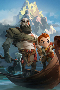 640x960 Kratos And Atreus God Of War Art 4k