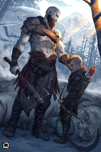 640x960 Kratos And Atreus God Of War Art