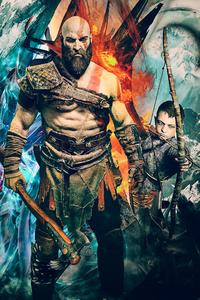 480x800 Kratos God Of War 4k Artwork
