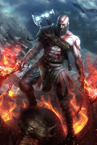 480x854 Kratos God Of War Art 4k