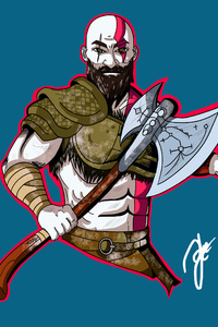 480x800 Kratos God Of War Artwork 4k