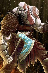 640x1136 Kratos God Of War Digital Artwork