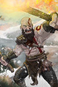 540x960 Kratos God Of War Fan Art 4k
