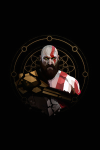 1080x2160 Kratos Minimal Artwork 4k