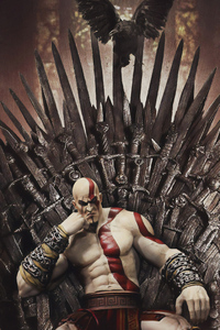 1440x2560 Kratos On Thrones