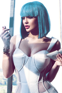 Kylie Jenner Cotton Candy Blue Hair