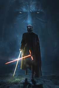 480x800 Kylo Ren Golden Lightsaber 4k