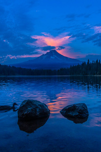 Lake Blue Sky Sunset 4k