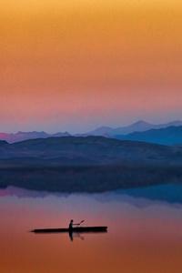 240x320 Lake Boat Man Sunset