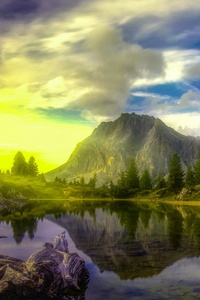 1080x2160 Lake Dolomites Trees Alps 5k