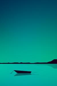 Lake Minimal Green 4k