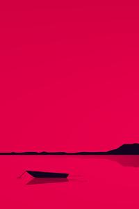 240x320 Lake Minimal Red 4k