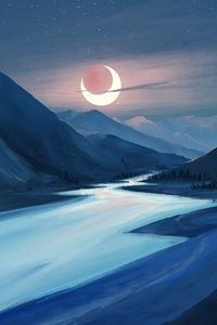 Lake Moon Night Illustration