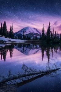 Lake Nature Night Reflection