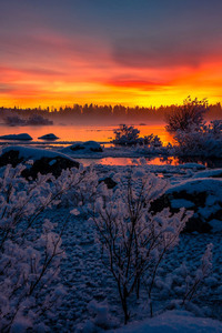 Lake Nature Snow Sunset