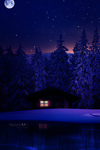 640x1136 Lake Near House Winter 4k