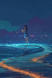 Lake Path Anime Girl 4k