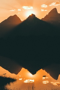 240x400 Lake Silhouette Mountains Beside 4k