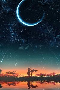 Lake Sky Stars Sunset 4k