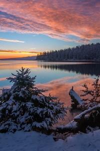 240x320 Lake Snow Evening Sunset 5k