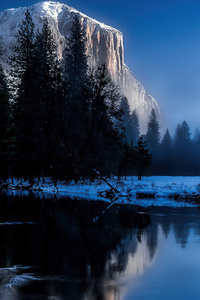 480x800 Lake Snow Mountains Winter 4k