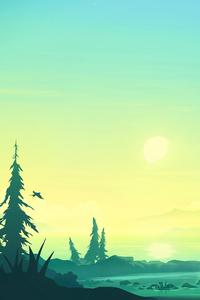 320x480 Lake Sunrise Minimal 5k