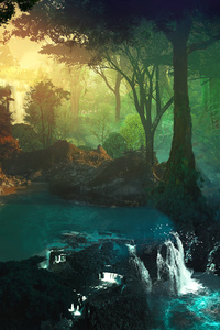 240x320 Lake Tropical Jungle Water