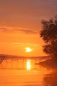 320x480 Lakeside Orange Sunset 8k