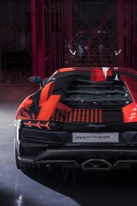 640x960 Lamborghini Aventador S By Yohji Yamamoto Rear View 10k