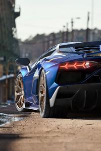 1242x2688 Lamborghini Aventardor SVJ Rear 4k