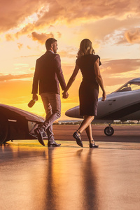 1440x2960 Lamborghini Business Private Jet Married Couple