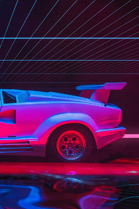 Lamborghini Countach Abstract Art 4k