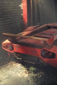 1125x2436 Lamborghini Countach In Dust 4k