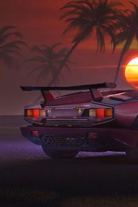 800x1280 Lamborghini Countach Retro 4k