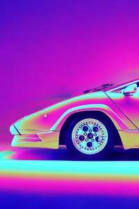 Lamborghini Countach Retro Artwork 4k